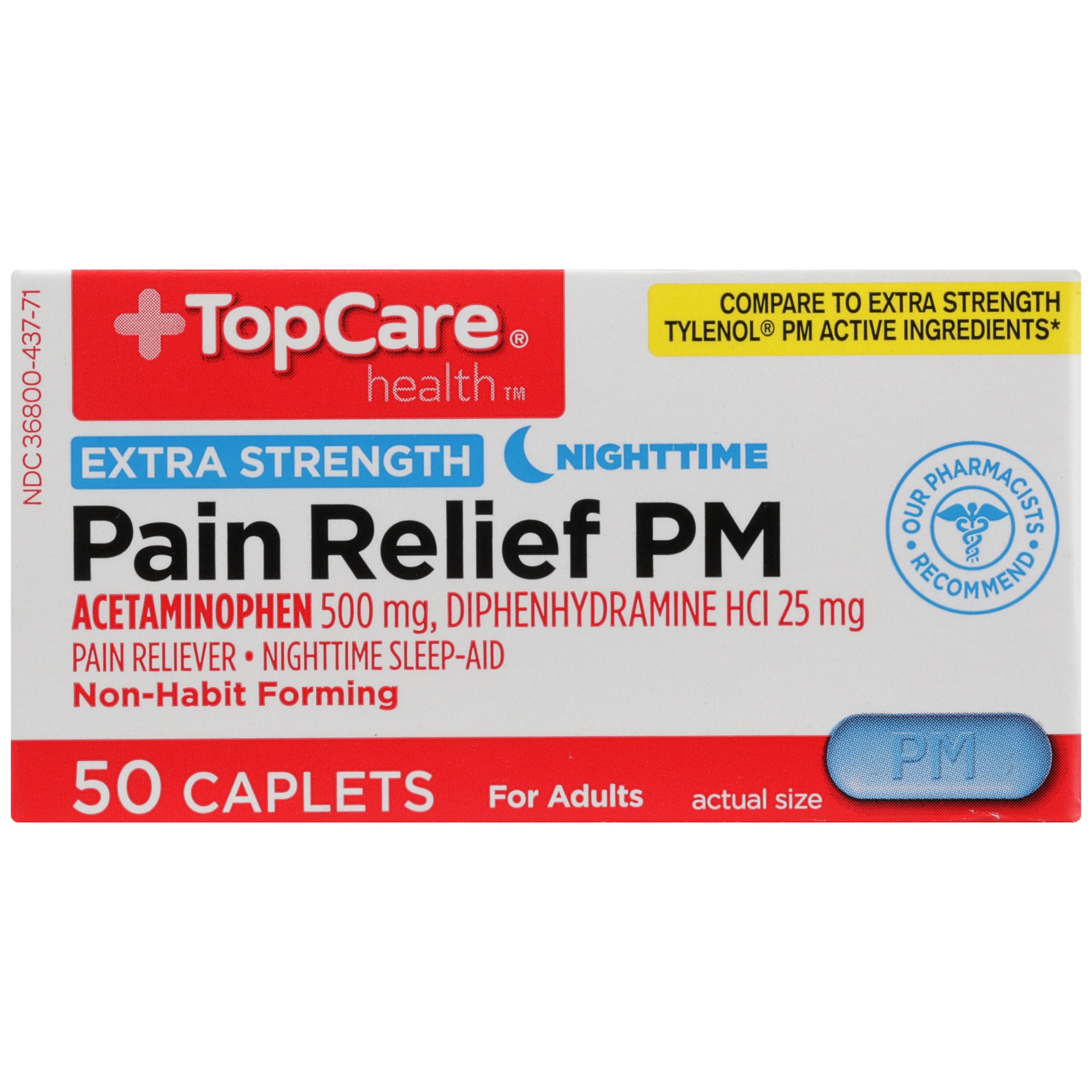 slide 4 of 6, TopCare Pain Relief PM Extra Strength,