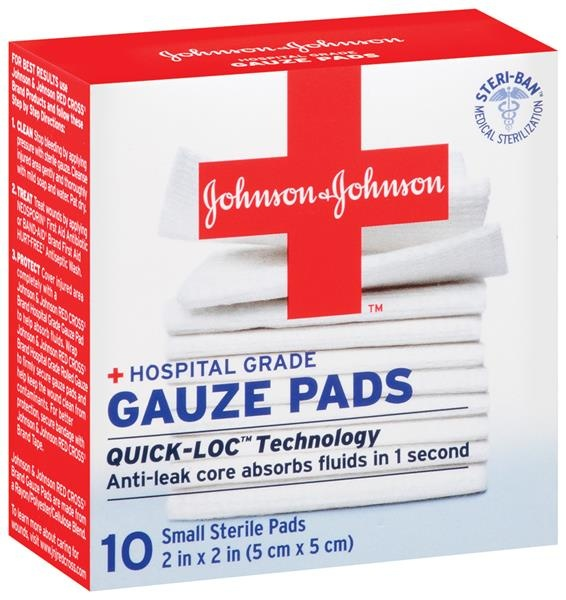 slide 1 of 1, Johnson & Johnson Small First Aid Covers Gauze Pads,