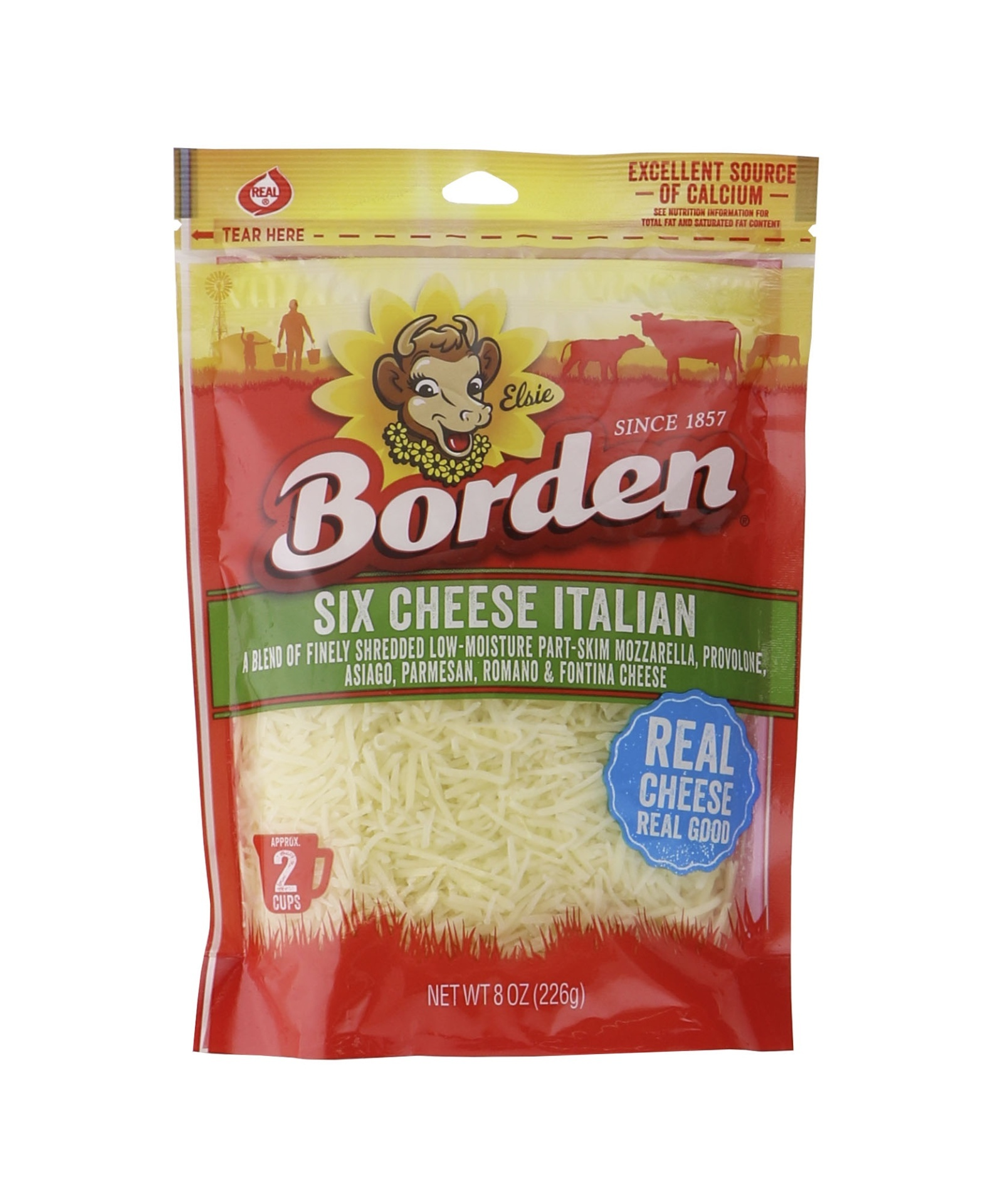 slide 1 of 1, Borden Fine Shred 6 Cheese Italian Blend,