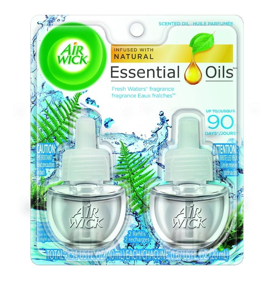 slide 1 of 3, Air Wick Scented Oil Air Freshener, Fresh Waters, Twin Refills,