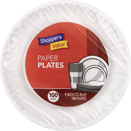 "slide 1 of 1, Shoppers Value White 9"" Paper Plates,"