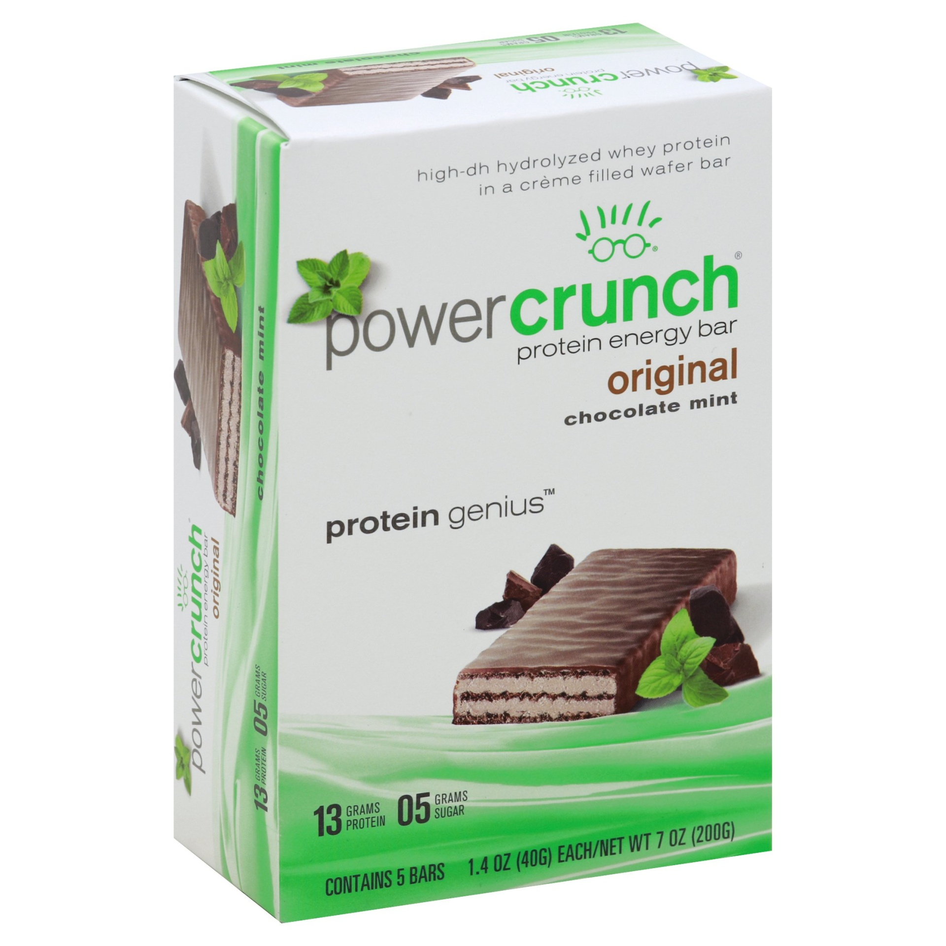 slide 1 of 1, Power Crunch Protein Energy Bar Original Chocolate Mint,