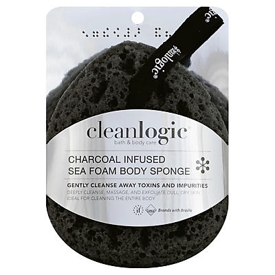 slide 1 of 1, cleanlogic Charcoal Infused Sea Foam Body Sponge,