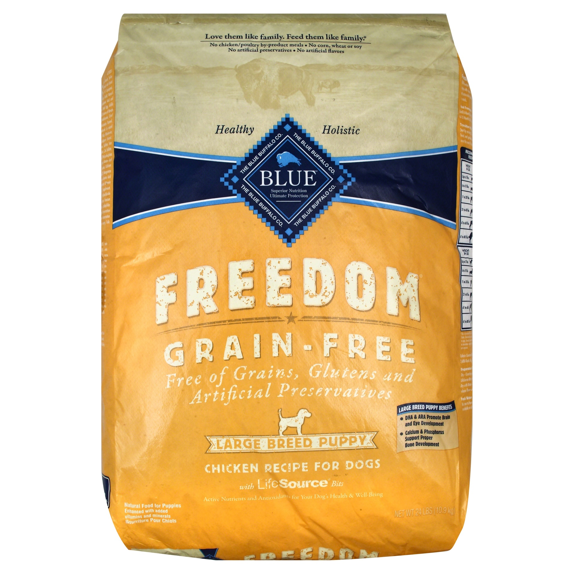 slide 1 of 1, Blue Buffalo Blue Freedom Grain Free Chicken Recipe Large Breed Puppy Food,